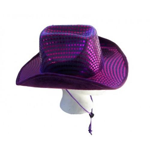 SEQUIN COWBOY HAT PURPLE 5dcd8c627ca0