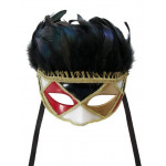 DELUXE FEATHER MASK R/B/G